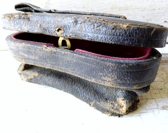 Antique Leather Opera Glass Case, Expandable, Victorian Black Leather with Dark Pink Silk Lining