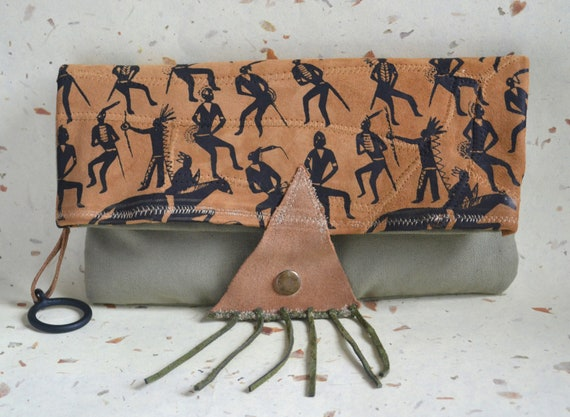 Fold Over  Leather Clutch - Pouch - Native American Leather and Canvas Pouch