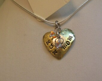 Handstamped heart pendant necklace