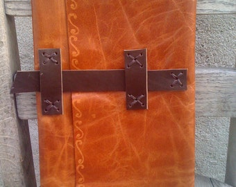 Hand Tooled Brown Leather Journal, Leather Notebook Case, Pretty Journal Case