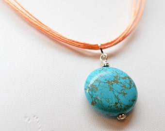Turquoise  Wire Wrapped  Pendant Necklace,  Gemstone on Natural Cotton Cord, Turquoise and Coral Tones