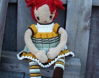 "Pattern for ""Ameline"" Raggedy Lottie ragdoll doll knitted doll"