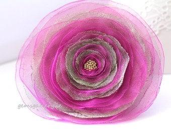 Pink & Grey Flower, Big Organza Brooch, Pink Wedding Flower