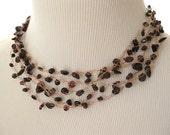 Garnet Chip Copper Wire Necklace