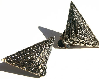 Vintage Triangle Art Deco Revival Marcasite Tiered Clip On Earrings Silver Tone