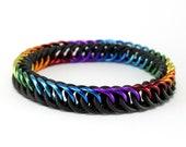 Black Rainbow Stretch Bracelet - Orion's Belt Rubber Metal Chainmail Bracelet for Men Women