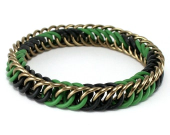 Camouflage Military Stretch Bracelet - Camo Hunting Green Black Brown Metal Rubber Stretchy Chainmail Bracelet for Men Women