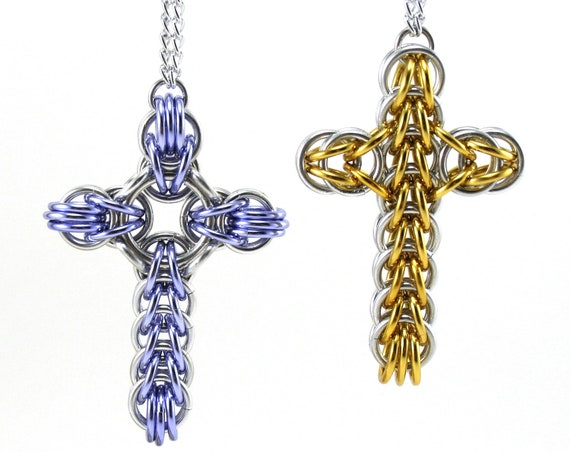 Chainmail Cross Car Rear View Mirror Charm Ornament Decoration - Classic or Celtic Style