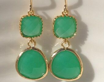 Palace Green Earrings, Boho-Chic, Wedding, Bridesmaid earrings