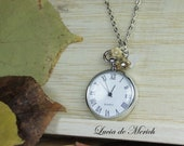 Autumn Silver Pocket Watch necklace- Valentine sale -coupon code - black friday - cyber monday