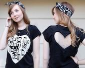 Black Rock N Roll Heart Cut out Shirt Made to order Upcycled Heart shirt  Back Cut Out Shirt from BglorifiedBoutique