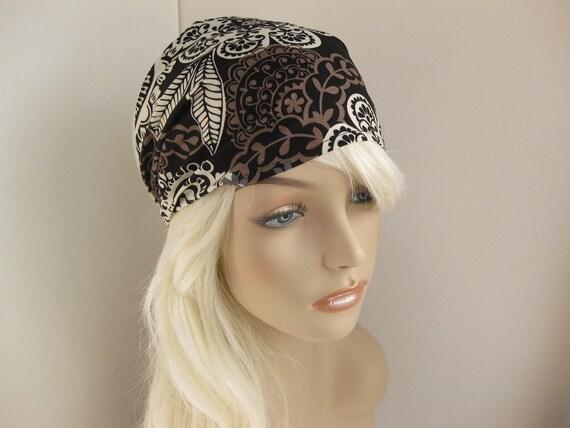 Bohemian Headband Women's Boho Head Wrap Black White Grey Taupe Floral  Bandana Michael Miller Fabric Boho Fashion Style Hair Accessory