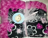 One Pink Hearts and Daisies Fleece Blanket lined with Hot Pink Minky Swirl. 50  x 60
