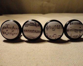 "Sheet Music Drawer Knobs/Drawer Pulls - 1 1/4"" wide and 1"" tall. (Set of 4)"