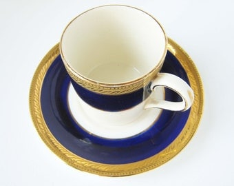 1920s English Tea Cup and Saucer (Crown Ducal Demitasse in Admiral Blue)