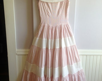 Late 1940's Early 50's White Cotton Pique with Red Dots Garden Party Formal Dress / Size 0-2 Extra Small