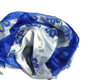 Blue and white long silk scarf with flowers - floral silk scarf