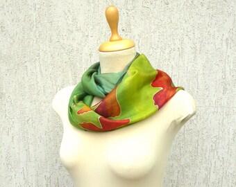 Hand painted silk scarf, Ginkgo Silk Scarf , Green silk Scarf