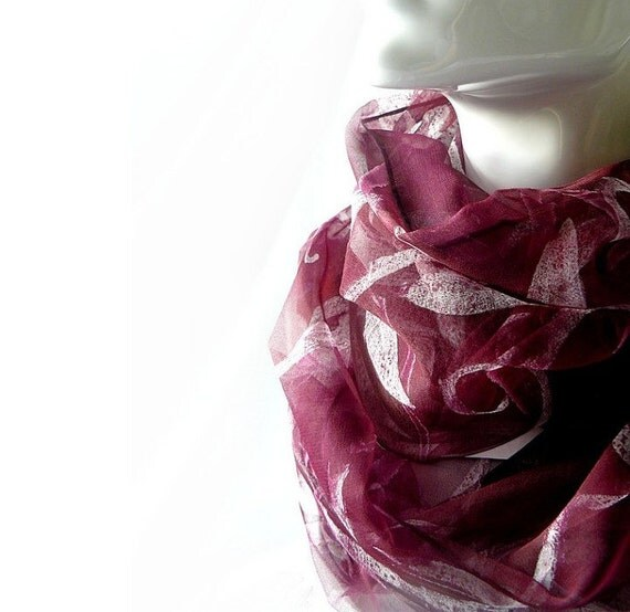 Burgundy romantic chiffon silk scarf Vines and leaves scarf burgundy auburn