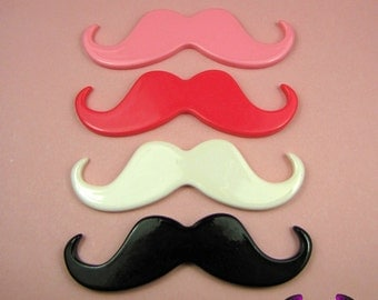 4 pcs HANDLEBAR MUSTACHES Resin Decoden Flatback Kawaii Cabochons 46x15mm