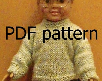 "031  Knit Pattern for 18"" doll-long sleeve button back sweater"