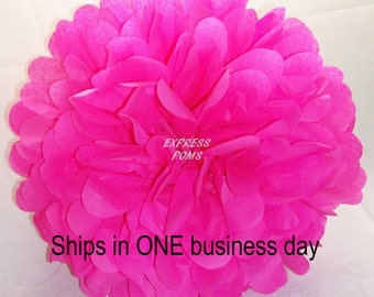 Hot Pink Tissue Paper Pom Pom - 1 Large Pom - 1 Piece - Ships within ONE Business Day