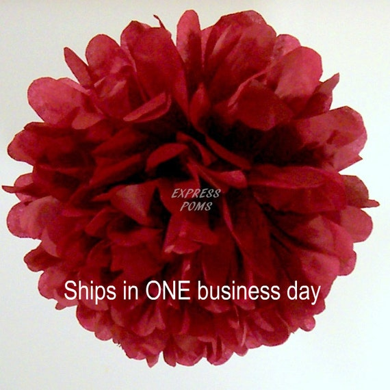 Maroon Tissue Paper Pom Pom - 1 Large Pom - 1 Piece - Ships within ONE Business Day