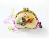 Metal frame purse / coin purse / Cat purse / 8.5 cm frame purse / Metal frame - made to order