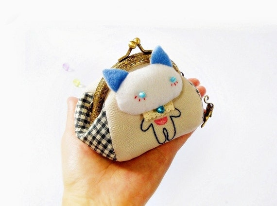 Coin purse / Cat purse / Metal frame purse / 8.5 cm frame / Metal frame - Made to order