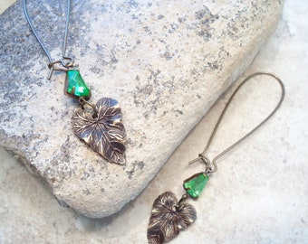 Antique Brass Leaf Crystal Earrings