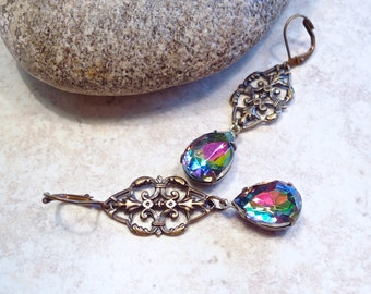Vitrial Crystal Filigree Earrings Antique Brass
