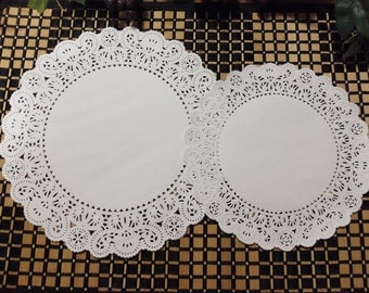 "Doilies, White Paper Doilies, Lace Doilies, 25 Paper Lace Doilies, 8"" or 10"" Diameter (Your Choice), White"