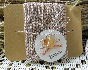 Bakers Twine, Brown Bakers Twine, 50 YARDS Brown Bakers Twine, 4 Ply, Wrapped on Kraft Chipboard