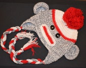 Cute Sock Monkey Crochet Baby Toddler Hat Photo Prop