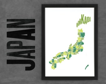 Japan Fontmap - Limited edition typographic map digital print, 297x420mm