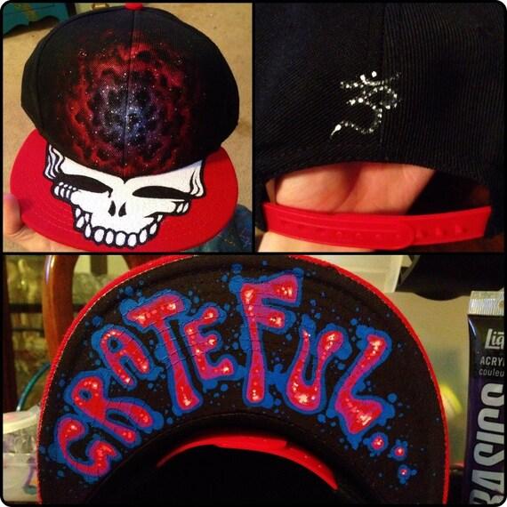 Grateful Dead Nebula Trippy Hand Painted Snapback Hippie Hat