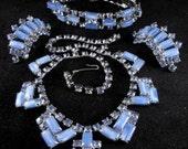 RESERVED: Vintage Blue Moon Rhinestone Parure Bracelet Necklace Earrings