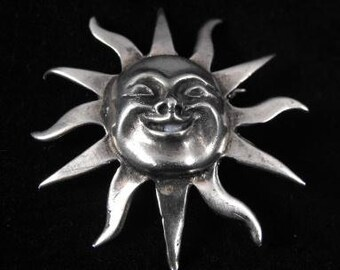 Sterling Silver Sun Brooch Marked Mexico 925