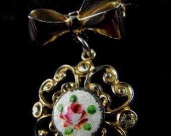 Victorian Revival Brooch Guilloche Enamel Rose Motif Sweet Petite Bow Pin