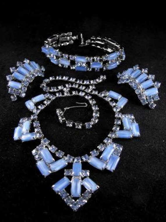 RESERVED: Vintage Blue Moon Rhinestone Parure Bracelet Necklace Earrings