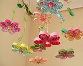 Baby Mobile - Crib Mobile - Baby Nursery Mobile - Flower Mobile - Quilling Mobile - Baby Girl Mobiles - Birds in Rainbow Garden 8A