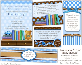 Baby Boy Shower - Storybook Baby Shower - Baby Shower Invitiations - Blue Baby Shower - Book Baby Shower - Printable Baby Shower -