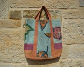 Tote bag, medium size, firm cotton, in turquoise, orange, green, purple