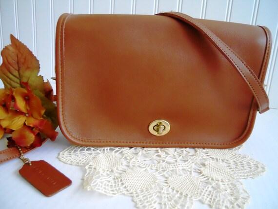 Vintage Chestnut Coach Shoulder Bag.