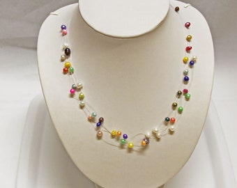5 Row candy pearl necklace-19 inch- FreeShipping