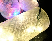 White Bottle Lights Clear in Frosted Glass with Silver Glitter