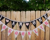 Burlap Banner Garland Bunting Birthday Name Banner - PER TRIANGLE Customize your Banner Colors and Wording