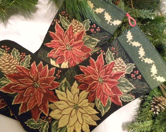 Christmas Stocking, Tapestry Stocking, Poinsettia, Victorian Stocking