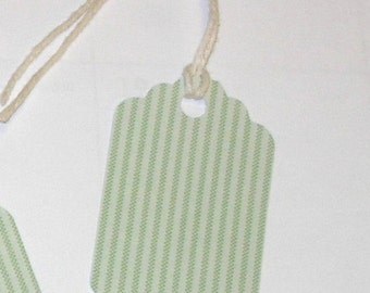 30 die cut hanging gift tags in a mint green stripe, pre-strung with cotton twine