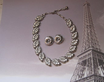 Silver Swirl Pattern Necklace And Matching Clip On Earrings, Signed LISNER